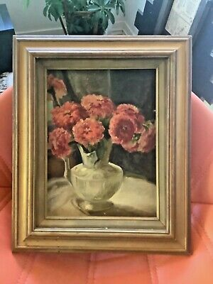 Antique Vtg canvas Floral roses Oil Painting pink vase gold frame framed signed