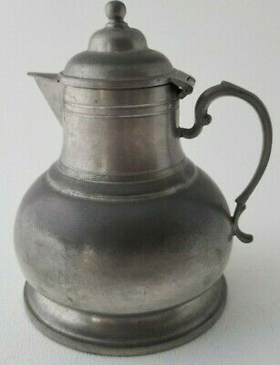 """Antique Pewter Syrup Pitcher Handmade Janish Pewter USA 5.5"""""""