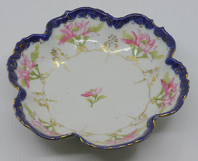 Old Japanese Hand Painted Porcelain Bowl, Scalloped Cobalt Edge, Moriage