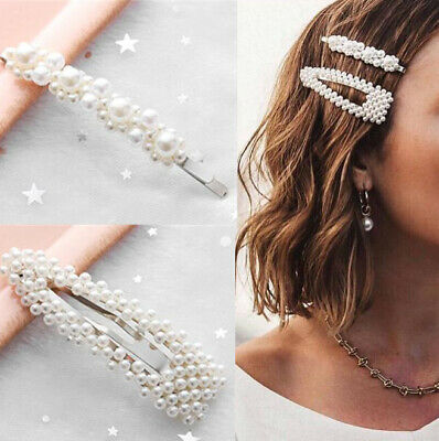 2019 Fashion Hot Girl Pearl Metal Clip Hairband Bobby Barrette Hairpin 2 Pcs Set