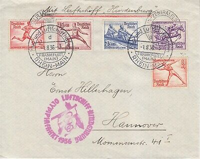 Covers Hindenburg 1936 Airmail Germany Summer Olympics Opening Day Rowing