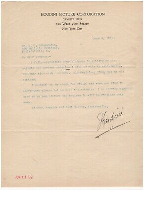 Harry Houdini Signed Autographed Letter On Houdini Picture Corp Letterhead 1921