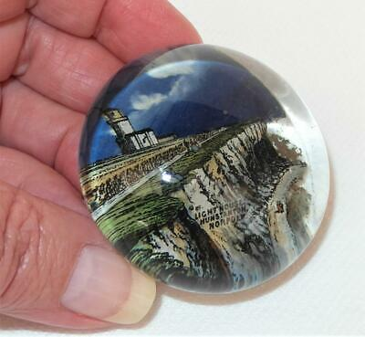 Antique Souvenir DOMED GLASS PICTURE PAPERWEIGHT - HUNSTANTON LIGHTHOUSE NORFOLK