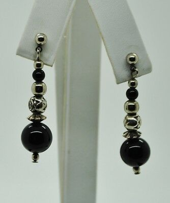 Sterling Silver Fancy Onyx Stones & Etched Floral Bead Dangle Earrings#Fma337