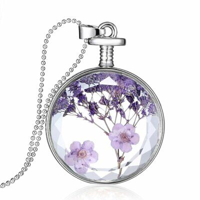 Natural Real Dried Flower Round Glass Pendant Necklace Locket Women Jewelry Gift