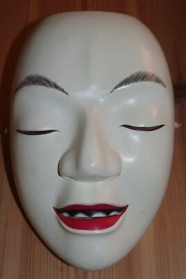 Carved Wood ' Semimaru' Yokai Ghost Japanese Noh Theatre Mask - (Kyogen Nogaku)