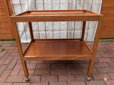 VINTAGE MID CENTURY MILITARY AIR CORP TEAK SERVING TROLLEY BY BARCLAY CURLE & Co