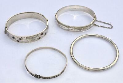 4 x VINTAGE STERLING SILVER BRACELETS INCLUDING 2 x LARGE HINGED EXAMPLES