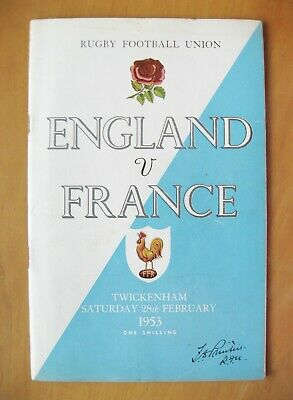 ENGLAND v FRANCE 1953 *Excellent Condition Rugby Union Programme*
