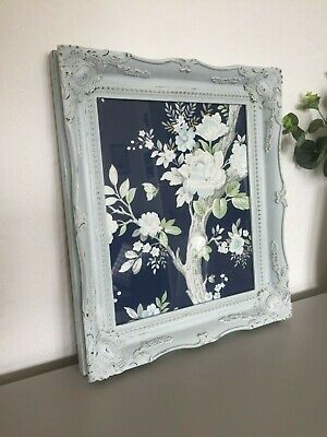 Large Vintage French Shabby Chic Ornate Swept Photo Frame Picture Wall Duck Egg