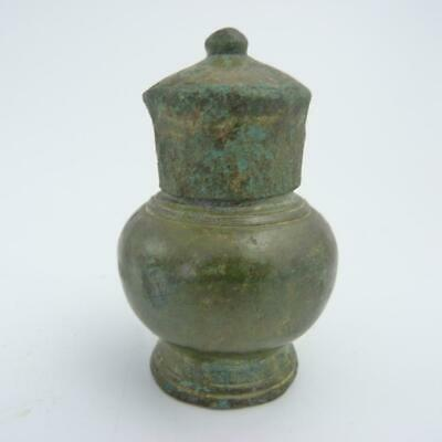 Antique South East Asian Bronze Lime Pot And Cover