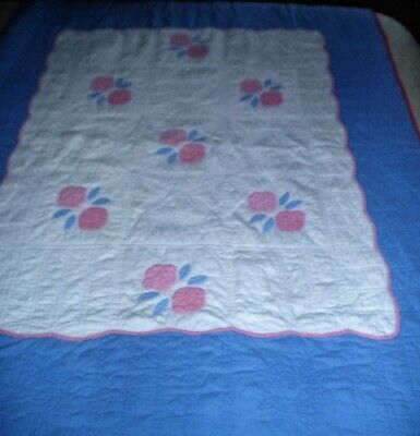 Vintage Baby or Toddler Blanket Hand Stitched Quilt Blue Pink White