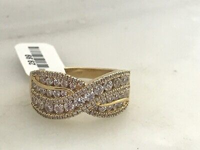 Gold Tone Sterling .925 Wide CZ Band Ring signed JCL China