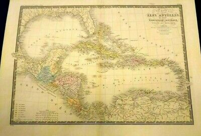 LARGE Map of The Carte des Iles Antilles des etats L'Amerique Centrale 1868
