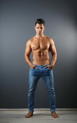 """Sexy Half Naked Man in Blue Jeans Poster 24"""" x 36"""" or 27"""" x 40"""""""