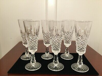 "Set of 6 Vintage WATERFORD CRYSTAL Kenmare 8"" Champagne Flutes Wine Glasses"