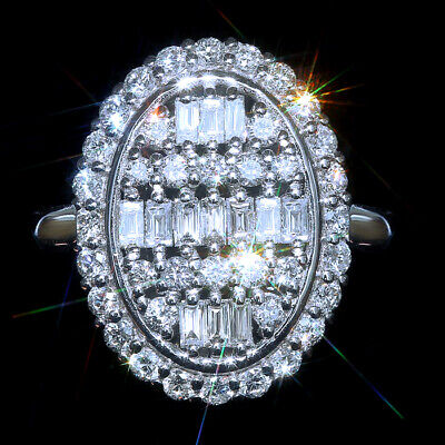 1Ct 100%Natural Diamond 10K White Gold Cocktail Cluster Ring EFFECT 3Ct RWG185-4