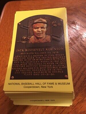 150 Yellow Hall of Fame Plaque Postcards Babe Ruth Ty Cobb Jackie Robinson ++