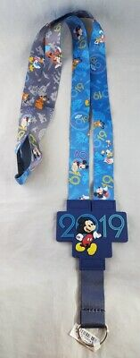Disney Parks 2019 Mickey Mouse Friends WDW Grey Blue Reversible Lanyard Pin NEW