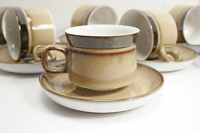Eight Denby Langley Country Cuisine Brown Flat Tea Cup and Saucer Sets. Mint!