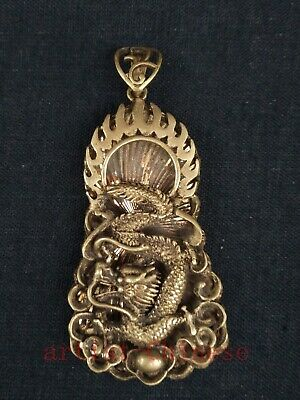 Collection Old art Chinese Copper Carving Force Dragon Statue Pendant Necklace