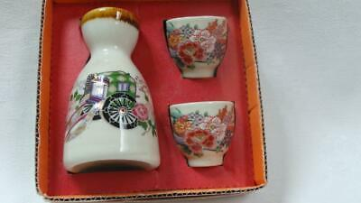 Retro Miniature Porcelain Three Piece Sake Set Japan