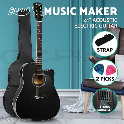 """Alpha 41"""" Inch Electric Acoustic Guitar Wooden Classical 3/4 Size EQ Bass Black"""