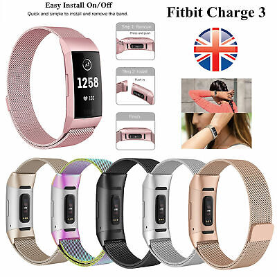 Replacement Milanese Band Stainless Steel Magnet Strap For Fitbit Charge 3 UK