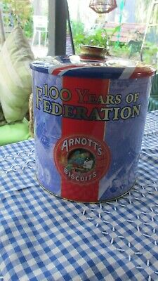 Vintage Arnotts Biscuit Tin  100 Years of Federation,great condition
