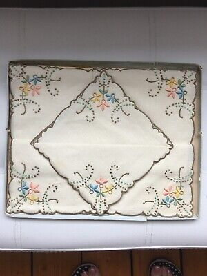 Vintage Hand Embroidered Tea Napkins - Pure Irish Linen x 6  Boxed