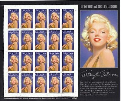 Stamp US Sc 2967 Sheet 1995 Legends of Hollywood Marilyn Monroe Actre  MNH