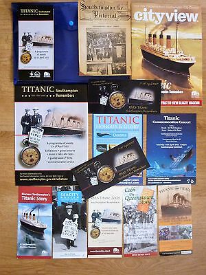RMS TITANIC COIN &  13 TITANIC related leaflets in presentation folder bl