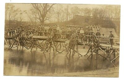 Postcard Real Photograph WWI British Army 113 Party Royal Engineers Good Bridge