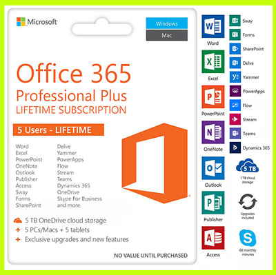MS Office 365 ProPlus 2019 ✓ 5 PC/MAC/Mobile ✓ 5TB OneDrive Geniune Accounts