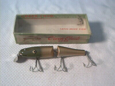 Vintage old wood fishing lure Creek Chub Jointed Pikie Golden Shiner w/ Box TE