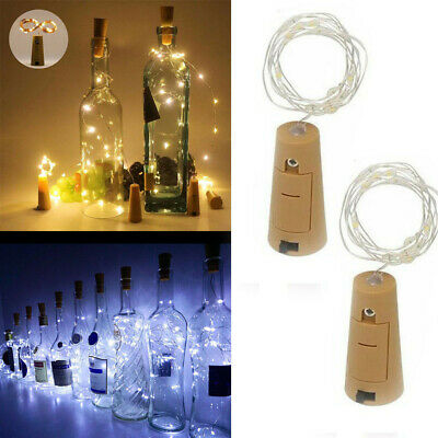1-10 PCS 2M 20 LED Wine Bottle Fairy String Light Cork Starry Night Xmas Wedding