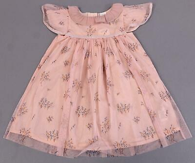 Next Girl's S/S Floral Mesh Print Frill-Collar Dress ML3 Pink 3-4 Years NWT