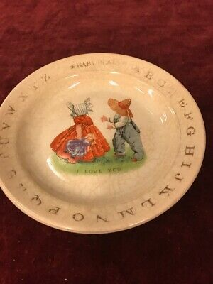 Vintage Baby plate I love you golden 6.5 inch Crackled Mid century