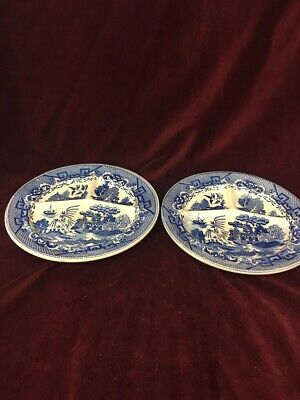 VINTAGE Japan BLUE WILLOW 3 Part Grill Plate Divided china 2 pieces Asian Orient