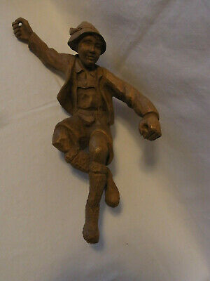 Vintage German Black Forest Hand Carved Wood Mountain Climber Mountaineer #AT