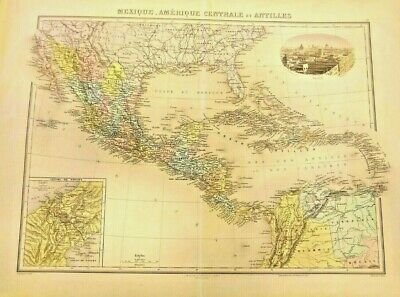 LARGE MAP OF MEXICO CENTRAL AMERICA & ANTILLE (Imset-Panama French Canal)  1882