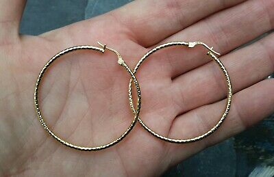 18ct GOLD OVER SILVER LARGE LOOP ITALIAN DESIGNER EARRINGS EX-DISPLAY QUALITY