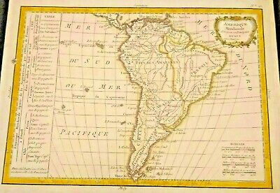 Beauriful Antique Map of Amerique Meridionale 1783 South America Rare Frameable