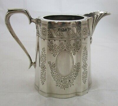 Fine Antique Victorian Sterling silver can shaped milk jug, 264 grams, 1899