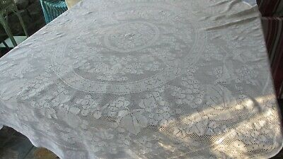 Vintage Cotton White Oval Lace Table Cloth,180 cms x 130 cms