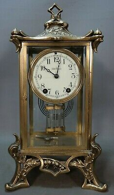 Antique ART NOUVEAU Style SETH THOMAS Old CRYSTAL REGULATOR Brass MANTLE CLOCK