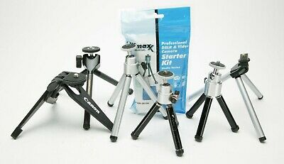 Set Of Seven Small Table-Top Tripods With & Without Ball Heads. Good. See Pic.