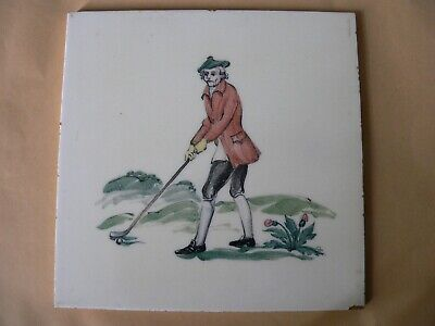 Vintage Thynne England Ceramic Golf Tile Hand Painted Golf Scene c1953