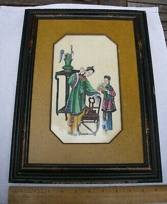 Superb 19th C CHINESE PITH PAINTING-Victorian Frame-Saxon & Clemens NYC
