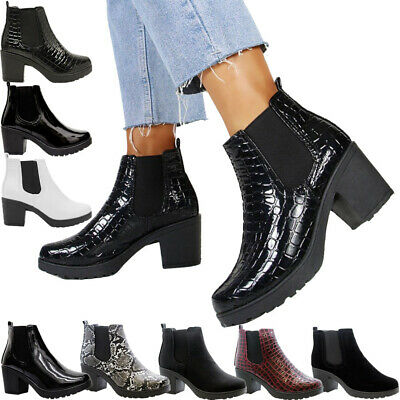 Womens Block Chunky Heels Platform Ladies Chelsea Ankle Boots Office Shoes Size